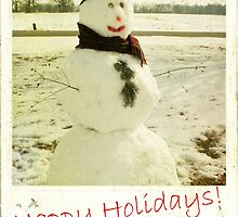 retro snowman holiday card by Hope A. Burger