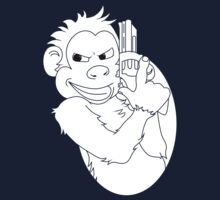 Monkey With Handgun - Black & White by Folji