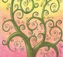 Green Tree Drawing Pastel with Prisma Marker by Michelle Clifton