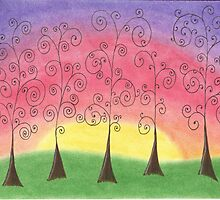 Rainbow Trees Drawing Pastel with Prisma Marker by Michelle Clifton