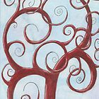 Red Tree with Blue Background Drawing Pastel by Michelle Clifton