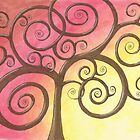 Brown Tree Drawing Pastel with Prisma Marker by Michelle Clifton