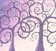 Purple Trees Drawing Pastel with Prisma Marker by Michelle Clifton