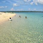 Young kids swim at the coral beach on Gibitngil Island, Cebu, Philippines by Dave P
