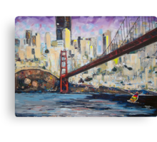 Golden City, Red Bridge, No Gate Canvas Print