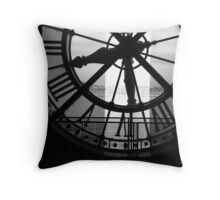 Musee D'Orsay Black & White Clock Throw Pillow