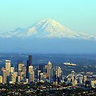 Rainier Beyond Seattle by starlitewonder