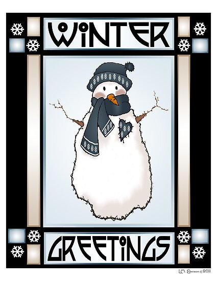 Winter Greetings Snowman #2 by Lynn Evenson