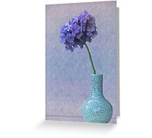 Blue and purple hydrangea in craquelé vase Greeting Card