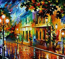 Night Flowers - original oil painting on canvas by Leonid Afremov by Leonid  Afremov