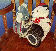 Rocking With Friends - Kitten resting with her stuffed animals by Patricia Barmatz