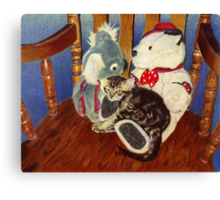 Rocking With Friends - Kitten resting with her stuffed animals Canvas Print