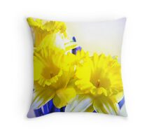 Daffodils blue yellow watercolor  Throw Pillow