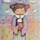 kokeshi flower girl by © Karin  Taylor
