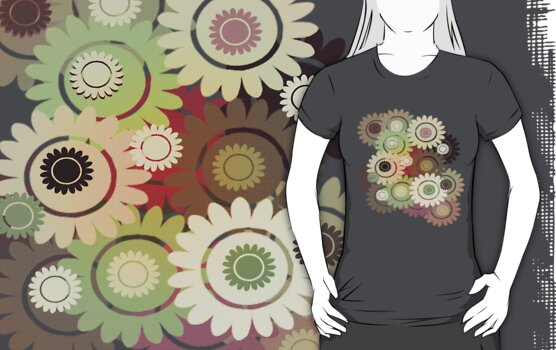 Clockwork Flowers T-Shirt by simpsonvisuals