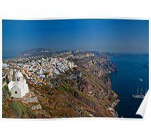 Greece. Santorini. Looking at Thira. Poster