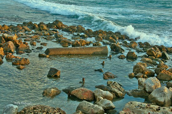 Waves Against the Rocks in Kesaria. by Nira Dabush