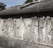 Norwood cemetary: Tomb stone with relief sculpture:-(220811c)- Digital photo  by paulramnora