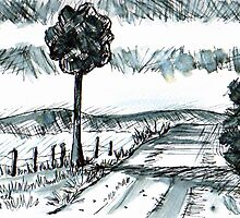 Pen-and-ink landscape by Elizabeth Kendall