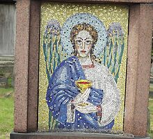 Norwood cemetary: Sculpture: Alter Cup Angel Mosaic -(220811c)- Digital photo  by paulramnora