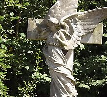 Norwood cemetary: Sculpture: Angel with cross/Tombstone II -(220811b)- Digital photo by paulramnora