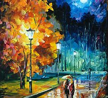 ROMANTIC NIGHT - original oil painting on canvas by Leonid Afremov by Leonid  Afremov