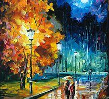 ROMANTIC NIGHT - original oil painting on canvas by Leonid Afremov by Leonid  Afremov