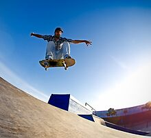 Skateboarder flying by homydesign