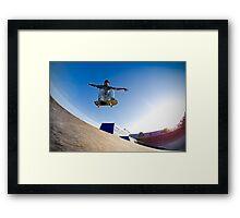 Skateboarder flying Framed Print