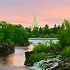 Waterfall Sunrise Idaho Falls Temple 20x24 by Ken Fortie