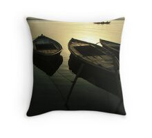 Boats of the Ganges Throw Pillow