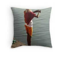 Making Puja in the Ganges Throw Pillow