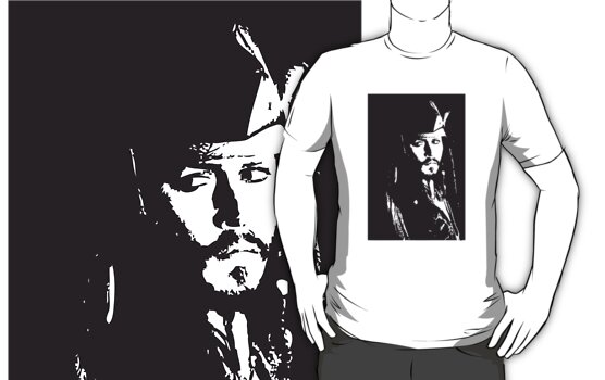 Captain Jack Sparrow T-shirt/sticker by Lauren Eldridge-Murray
