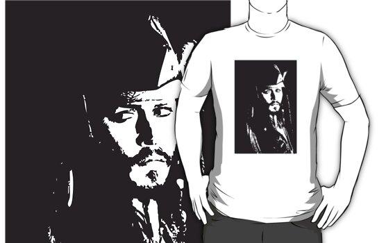 Captain Jack Sparrow T-shirt/sticker by Lauren Eldridge-Murray