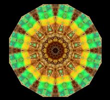 Tree trunk spin .. in green & gold by Michael Matthews