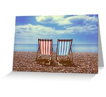 Deck chairs on Brighton beach  Greeting Card