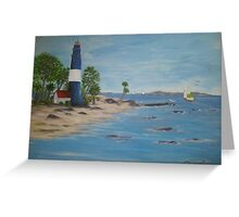 Lighthouse, a great day for sailing Greeting Card