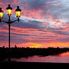 Bergerac Madeliene Bridge Red Sunrise by Howard Worf