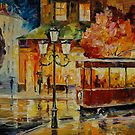 LAST TROLLEY - original oil painting on canvas by Leonid Afremov by Leonid  Afremov