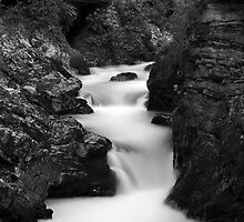 The Soteska Vintgar gorge in Black and White by Ian Middleton