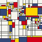 World Map Abstract Mondrian Style by Michael Tompsett