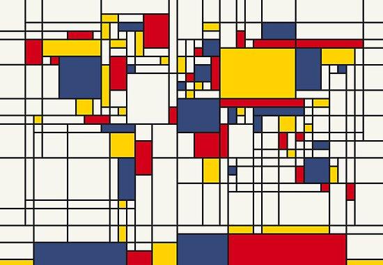 World Map Abstract Mondrian Style by Michael Tompsett