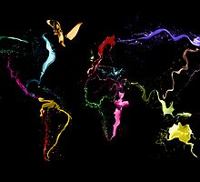 World Map Abstract Paint by Michael Tompsett