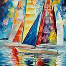 WIND IN SAILS - original oil painting on canvas by Leonid Afremov by Leonid  Afremov