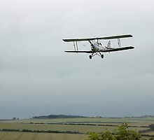 Tiger Moth on approach to land by Richard Flint