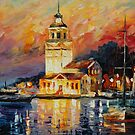 ROMANTIC HARBOR - original oil painting on canvas by Leonid Afremov by Leonid  Afremov