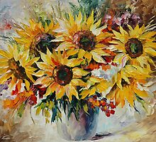SUNFLOWERS - original oil painting on canvas by Leonid Afremov by Leonid  Afremov