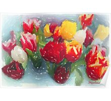 My tulips in pastels - red-orange  Poster