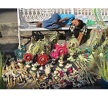 The sleep - little boy sleeping on the Easter market - El sueño Photographic Print