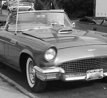 1957 Thunderbird B&W-front side view by henuly1